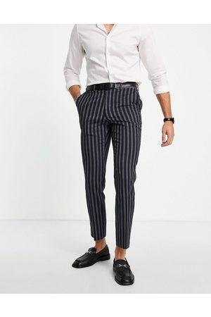 French Connection Men Skinny Pants - Slim fit linen stripe suit pants-Navy