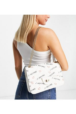 My Accessories London Exclusive quilted chain cross body bag in white with slogan-Multi