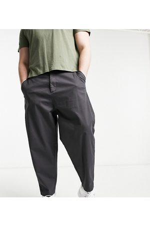 ASOS Oversized tapered chino pants in charcoal-Grey
