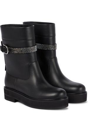 Salvatore Ferragamo Women Biker Boots - Ean embellished leather biker boots