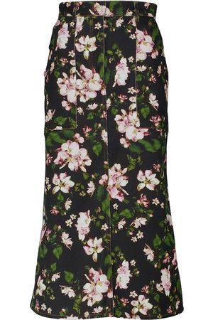 Erdem Women Midi Skirts - Artie floral denim midi skirt