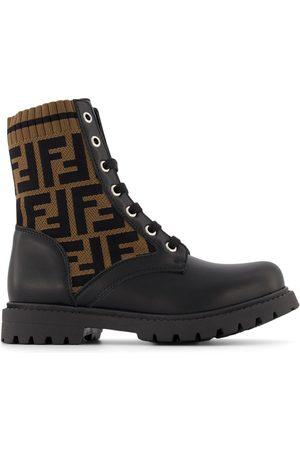 Fendi Kids Thigh High Boots - Kids - FF Print Biker Boots - 32 (UK 13) - - Tall boots