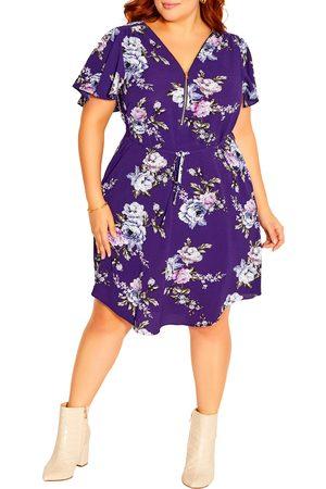 City Chic Women Dresses - Plus Size Women's Wild Flower Flutter Sleeve Dress