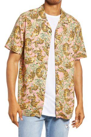 Topman Men's Men's Tiger Print Short Sleeve Button-Up Shirt