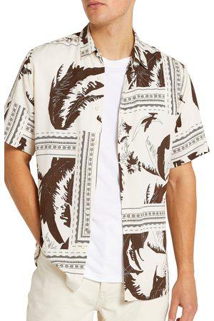 River Island Men's Leaf Print Short Sleeve Button-Up Shirt