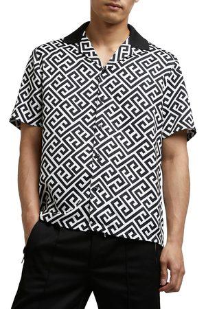 River Island Men Short sleeves - Men's Men's Revere Geometric Print Short Sleeve Button-Up Shirt