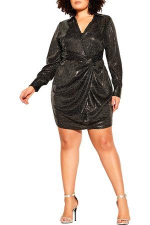 City Chic Plus Size Women's City Chi Seqin Glow Wrap Front Long Sleeve Dress