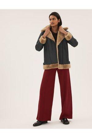 Marks & Spencer Women Leather Jackets - Faux Shearling Aviator Jacket