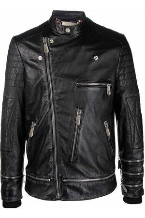 Philipp Plein Iconic Plein leather biker jacket