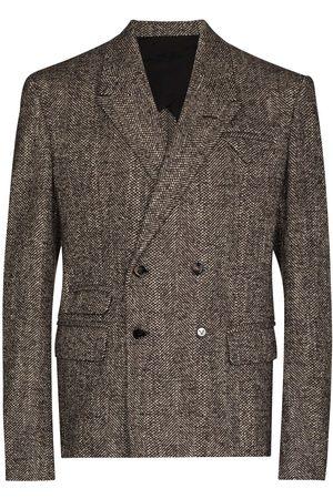 Bottega Veneta Men Blazers - Herringbone double-breasted blazer - Neutrals