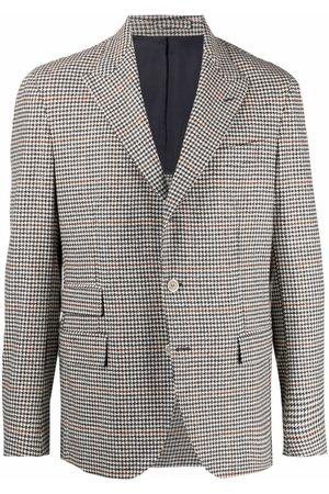 ELEVENTY Blazers - Check-print single-breasted blazer - Grey