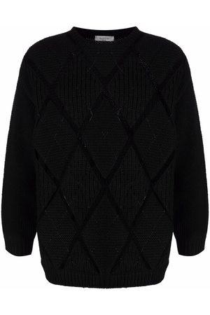 VALENTINO Men Sweatshirts - Argyle detailing crew-neck jumper