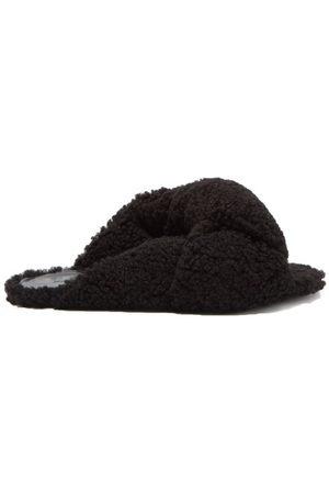 Balenciaga Drapy Knotted Shearling Slides - Womens