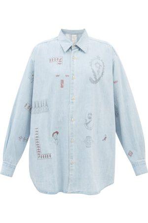 KURO Printed Denim Shirt - Womens - Light Denim