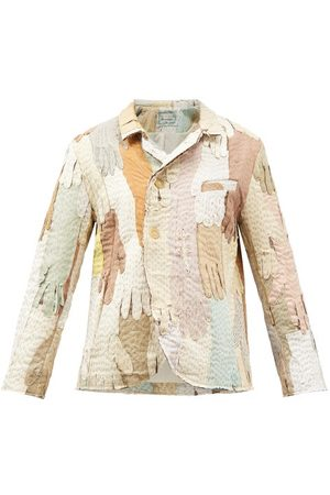BY WALID Men Leather Jackets - Malika 19th-century Suede-glove Patchwork Jacket - Mens