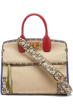 Salvatore Ferragamo Women Purses - The Studio Leather-trim Canvas Handbag - Womens - Multi