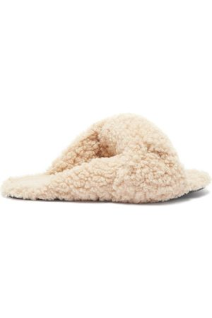 Balenciaga Drapy Knotted Faux-shearling Sandals - Womens