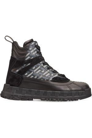 VERSACE Monogram Print Leather Lace-up Boots