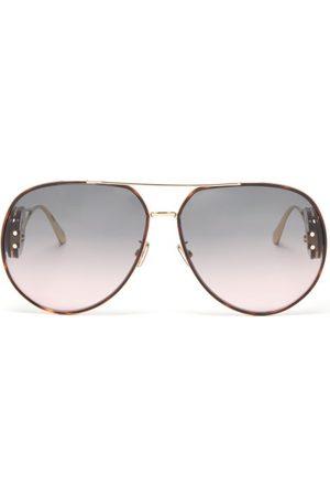 Dior Bobby Oversized Aviator Metal Sunglasses - Womens - Grey