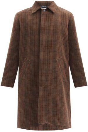 A.P.C. Men Coats - Austin Prince Of Wales-check Single-breasted Coat - Mens - Dark