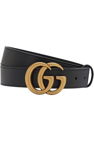 Gucci Men Belts - 3cm Gg Gold Buckle Leather Belt