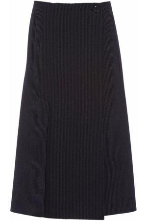 Prada Pinstripe wrap-front midi skirt
