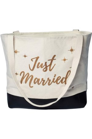 Women Luggage - Artisanal Natural Cotton Just Married Canvas Tote Deux Mains
