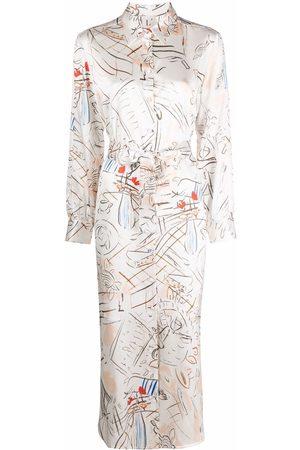 L'Autre Chose Women Casual Dresses - Sketch-style print silk shirtdress