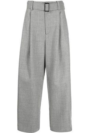 Emporio Armani Men Wide Leg Pants - Belted-waist wide-leg trousers - Grey