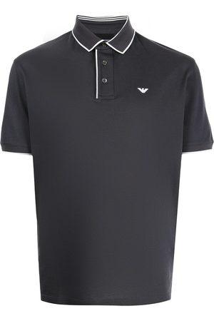 Emporio Armani Embroidered-logo polo shirt - Grey