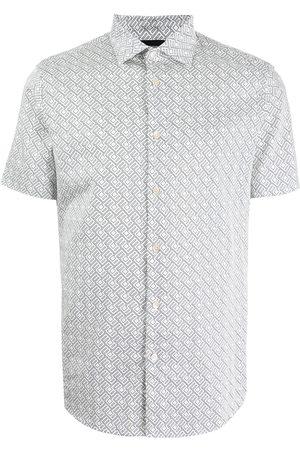 Emporio Armani Men Short sleeves - Geometric-print shortsleeved shirt - Grey