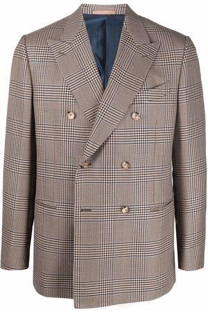 CARUSO Men Blazers - Plaid double-breasted blazer - Neutrals