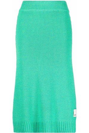 SUNNEI Women Midi Skirts - Logo-patch knitted midi skirt
