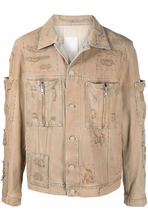 Givenchy Men Denim Jackets - Patch-detail distressed denim jacket - Neutrals