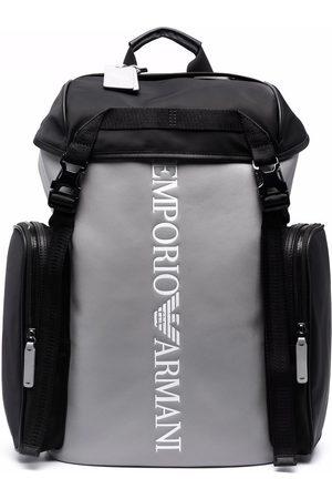 Emporio Armani Logo-print two-tone backpack - Grey