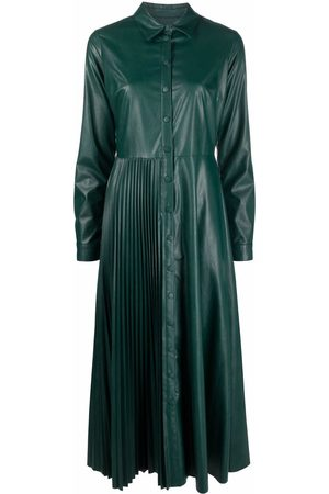 Twin-Set Women Casual Dresses - Pleated faux leather shirt dress
