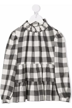 Il gufo Checked tiered blouse - Grey