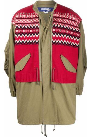 JUNYA WATANABE Men Parkas - Knitted-panel coat