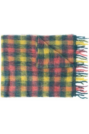 Andersson Bell Men Scarves - Check-print frayed-edge scarf