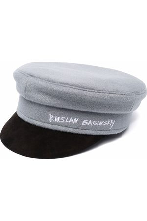 Ruslan Baginskiy Boys Hats - Signature logo baker boy hat - GREY