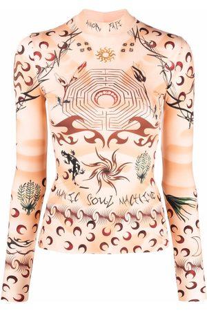 Marine Serre Women Long Sleeve - Graphic-print long-sleeved top - Neutrals