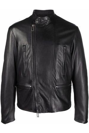 Emporio Armani Men Leather Jackets - Band collar leather jacket
