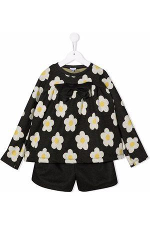Piccola Ludo Girls Loungewear - Floral-print two-piece set - Grey