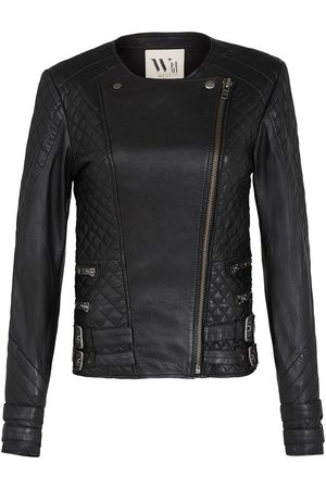 Women Leather Jackets - Women's Low-Impact Black Leather Park Slope Quilted Jacket Large West 14th