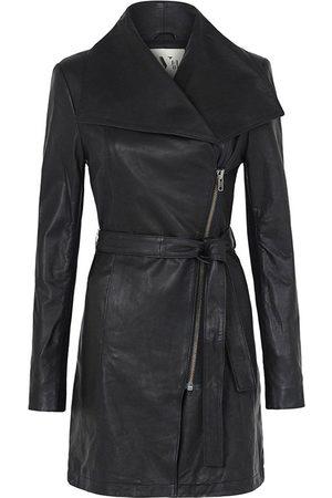 Women Trench Coats - Women's Low-Impact Black Leather Washington Street Drape Trench Small West 14th