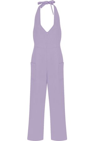 Women Jumpsuits - Women's Artisanal Pink/Purple Viscose Jumpsuit With Zip Opening Medium kith & kin