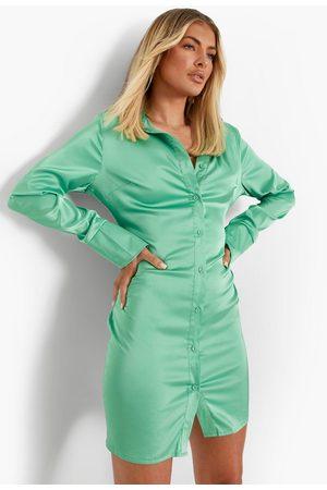 Boohoo Women Casual Dresses - Womens Satin Split Cuff Power Shoulder Shirt Dress - - 4