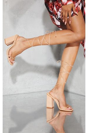 PRETTYLITTLETHING Women Heeled Sandals - Nude Patent PU Strappy Block Heel Sandals