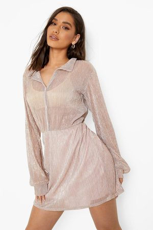 Boohoo Women Casual Dresses - Womens Sparkle Mesh Wrap Shirt Dress - - 4