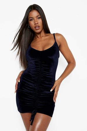 Boohoo Womens Velvet Strappy Ruched Mini Dress - - 2